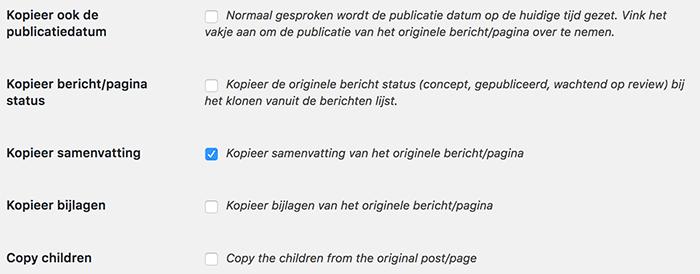 Duplicate post instellingen