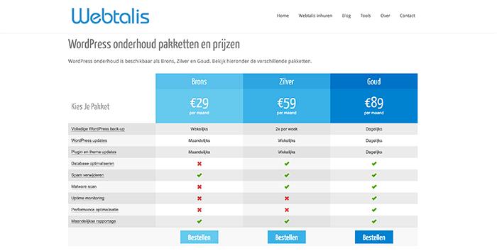 Webtalis onderhoudspakketten