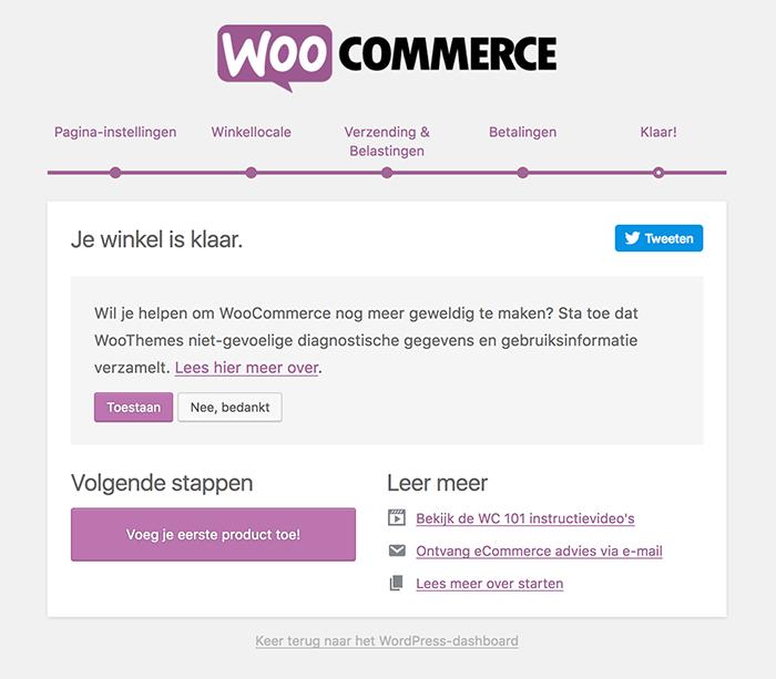 WooCommerce installatiewizard klaar