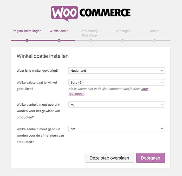 Winkellocatie instellingen in de WooCommerce installatiewizard