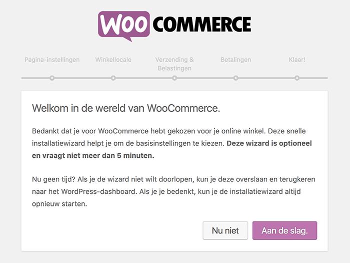 WooCommerce installatiewizard