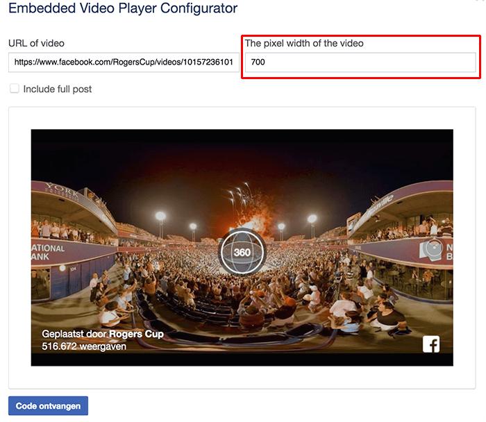 Geavanceerde instellingen voor het embedden van een Facebook video