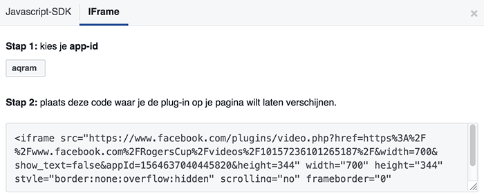 iFrame Facebook video insluitcode