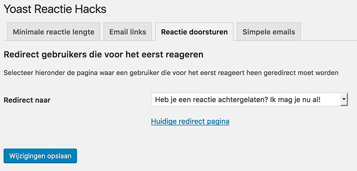 Reactie doorsturen in WordPress