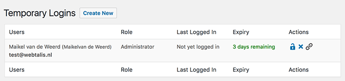 Temporary logins overzicht