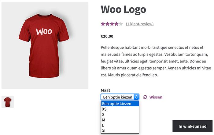 Maat kiezen dankzij de producteigenschappen in WooCommerce