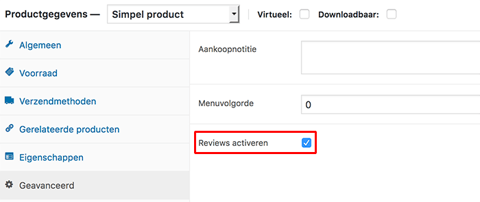 WooCommerce reviews activeren