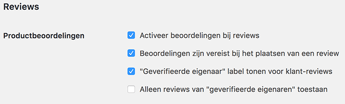 WooCommerce reviews productbeoordeling