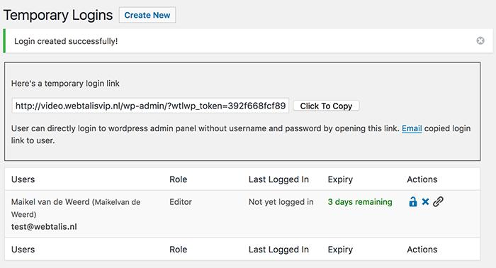 WordPress tijdelijke login aangemaakt