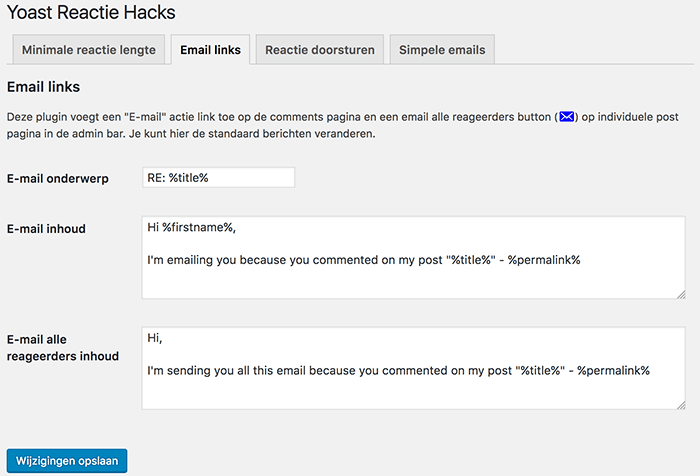 e-mail links inschakelen in de Yoast Comment Hacks plugin