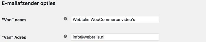 WooCommerce e-mailafzenderopties