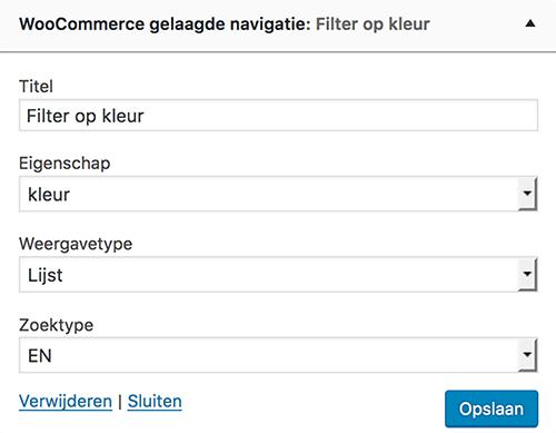 WooCommerce gelaagde navigtie widget