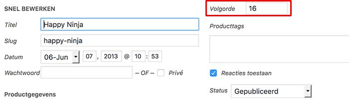 WooCommerce product sorteren via snel bewerken