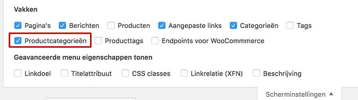 WooCommerce productcategorie zichtbaar maken bij het menu in WordPress