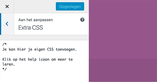 Aangepaste CSS in de customizer van WordPress
