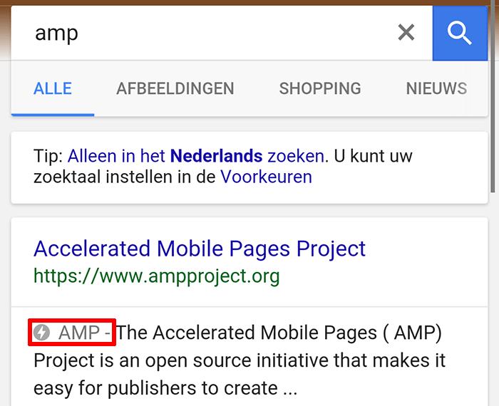 AMP in de zoekresultaten van Google