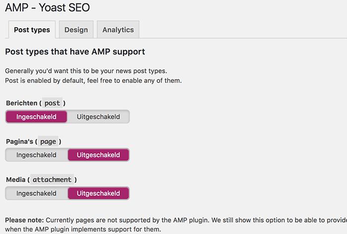 Yoast SEO AMP ondersteuning voor post types