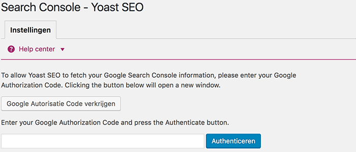 Search Console authenticeren in Yoast SEO