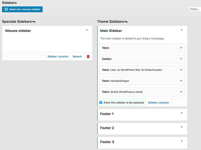 Nieuwe WordPress sidebar maken