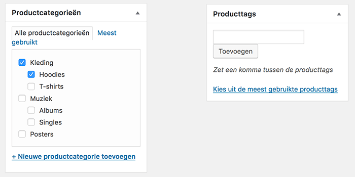 Productcategorieen en producttags toevoegen in WooCommerce