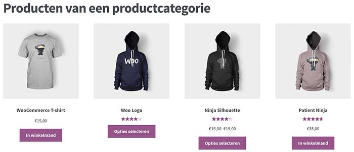 Producten van een productcategorie