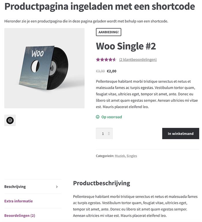 Productpagina ingeladen met behulp van een shortcode