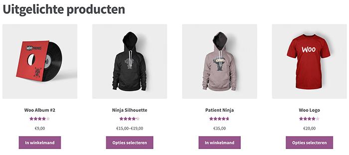 Uitgelichte producten in WooCommerce die getoond worden met behulp van een shortcode