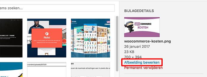 WordPress afbeelding bewerken