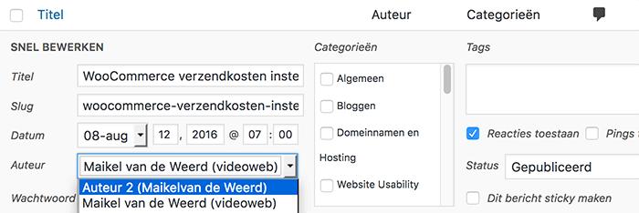 WordPress auteur wijzigen via snel bewerken