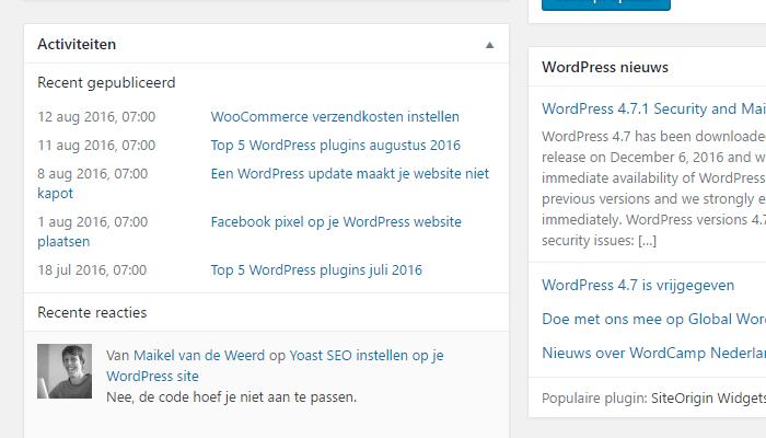 WordPress Dashboard Activiteiten