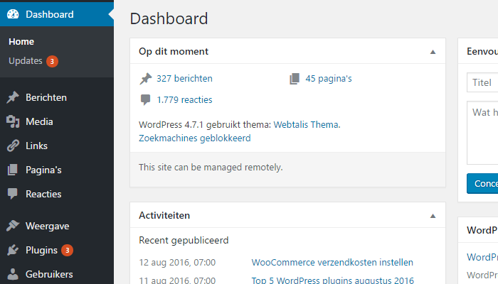 WordPress Dashboard Op Dit Moment