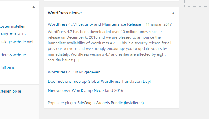 WordPress Dashboard WordPress Nieuws
