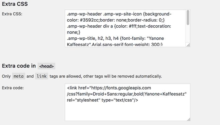 CSS en extra code toevoegen voor AMP