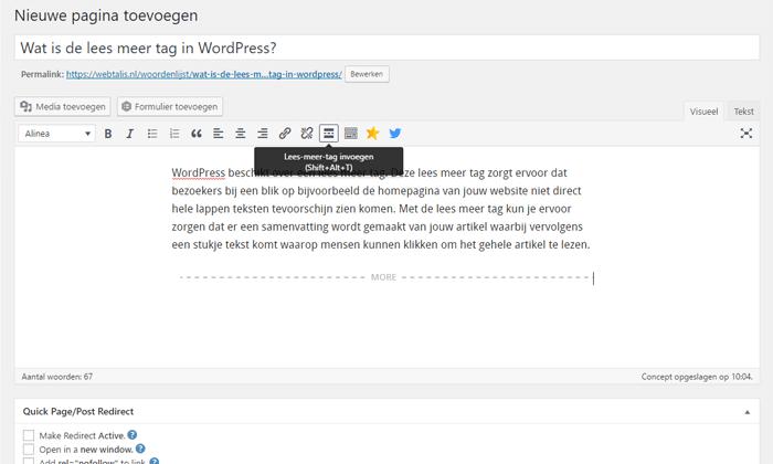 Lees meer tag WordPress