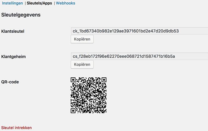 WooCommerce API-sleutelgegevens