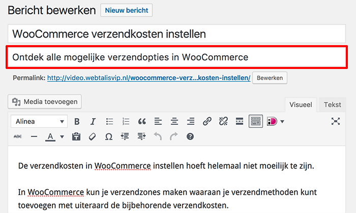 WordPress ondertitel toevoegen