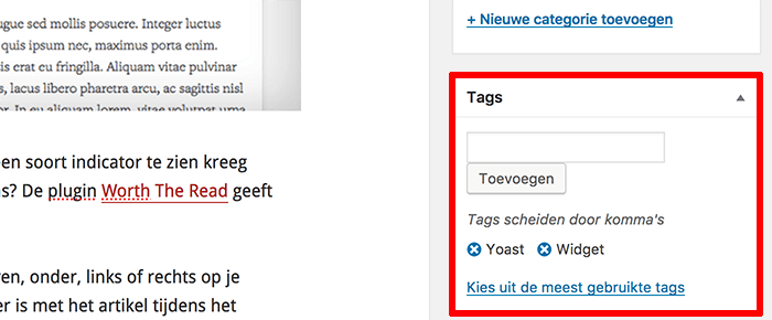 WordPress tags toevoegen