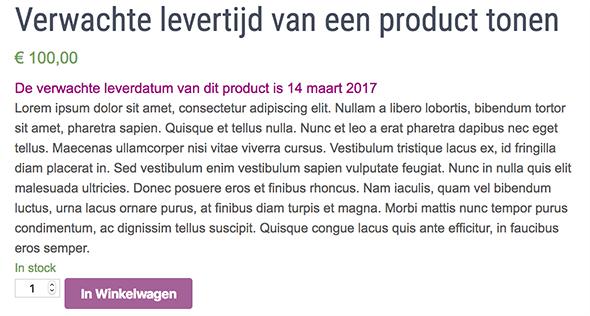 Verwachte leverdatum in WooCommerce bij een product tonen