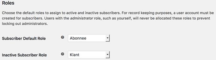 WooCommerce Subscriptions gebruikersrol instellen