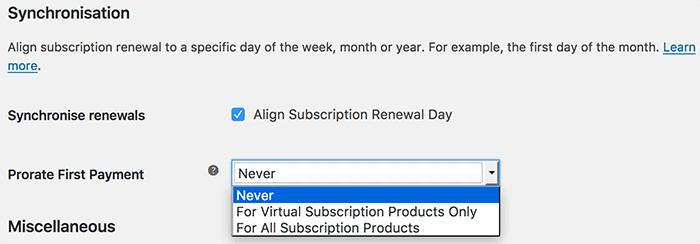 WooCommerce subscrioptions synchronisatie instellingen