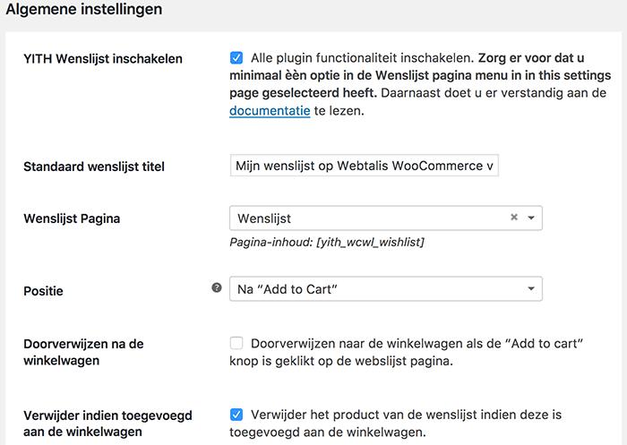 Algemene instellingen van de WooCommerce YITH wishlist plugin