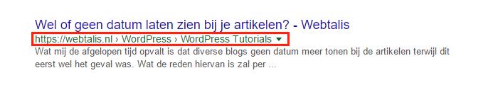 WordPress Kruimelpad Google