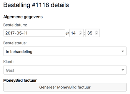 Genereer moneybird factuur in WooCommerce