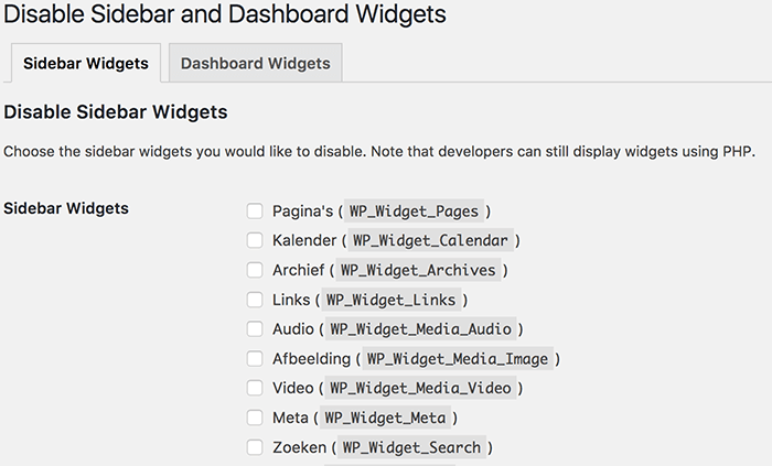 WP Widget Disable opties
