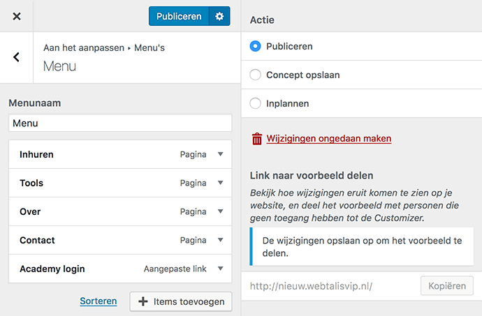 WordPress customizer tandwiel opties