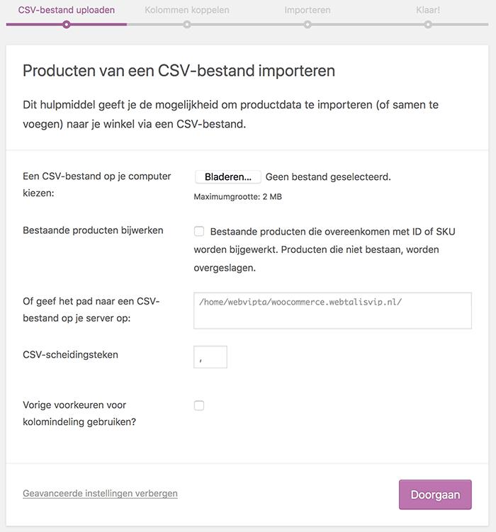 CSV-bestand uploaden om WooCommerce producten te importeren