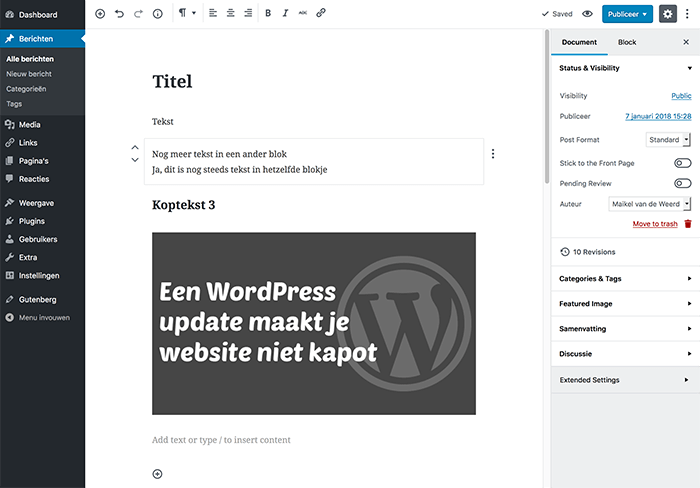 Gutenberg-editor in WordPress 5.0