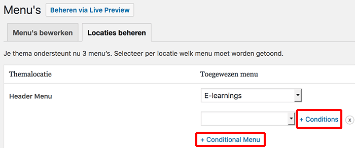 Conditional menu toevoegen in WordPress