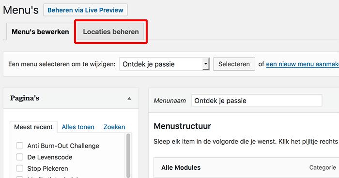 WordPress menu - Locaties beheren