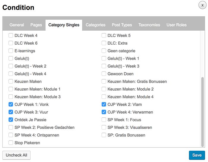 WordPress menu per pagina instellen